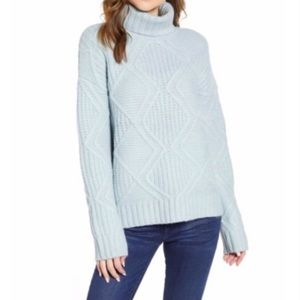 NWT Caslon blue cable knit turtleneck sweater